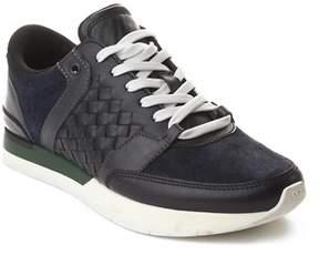 Bottega Veneta Men's Intrecciato Leather Sneaker Trainer Shoes Black Navy Green.