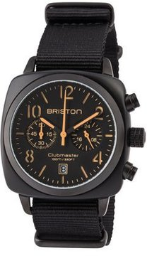 Briston Clubmaster Classic Chronograph Watch, Black/Orange