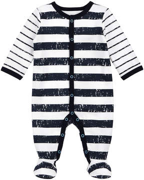 Petit Lem White & Black Stripe Footie - Newborn & Infant