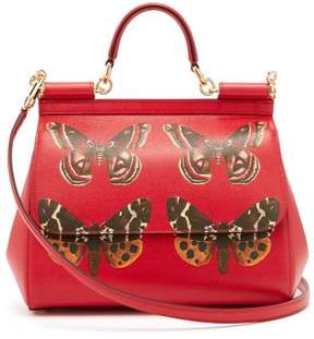 Dolce & Gabbana Sicily Medium Butterfly Print Dauphine Leather Bag - Womens - Red Multi