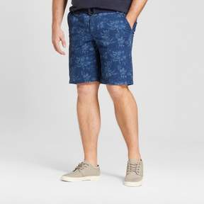 Mossimo Men's Big & Tall Flat Front Blue Floral Chino Shorts - Merona