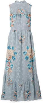 Anna Sui Fil Coupé Silk-blend Midi Dress - Light blue