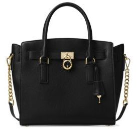 MICHAEL Michael Kors Hamilton Large Leather Satchel - BLACK - STYLE