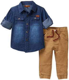 7 For All Mankind Denim Shirt & Joggers (Baby Boys)