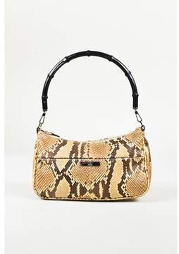 Gucci Pre-owned Brown Python Snakeskin Bamboo Handle Bag.