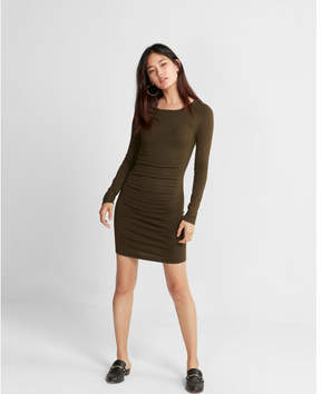 Express ruched crew neck sweater dress