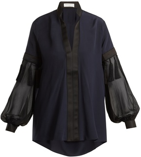 Amanda Wakeley V-neck contrast-panel silk crepe de Chine blouse