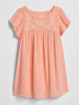 Gap Crinkle Embroidery Dress