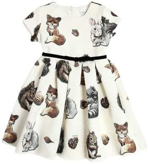 MonnaLisa Animals Print Cotton Blend Brocade Dress