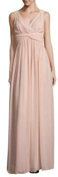 Donna Morgan Shirred V-Neck Gown