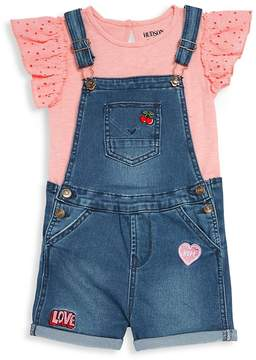 Hudson Baby Girl's Two-Piece Top and Denim Shortalls Set