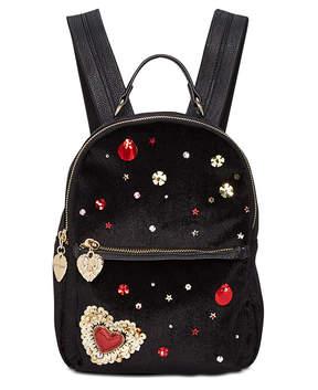 Betsey Johnson Heart Velvet Backpack