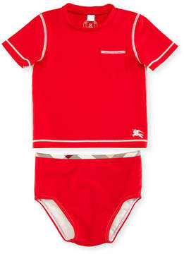 Burberry Crosby Short-Sleeve Rashguard Swimsuit, Cherry, Size 6M-3
