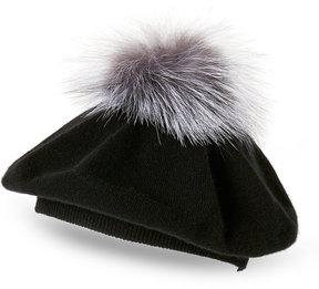 Sofia Cashmere Cashmere & Real Fox Fur Knit Hat