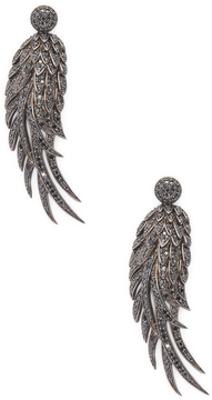 Artisan Women's Black Diamond Feather Earring