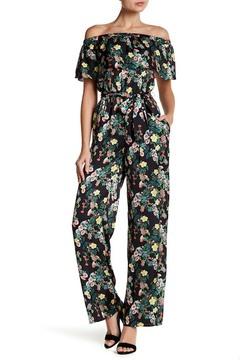 Bebe Off-the-Shoulder Floral Jumpsuit