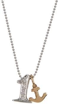 Alex Woo 14K White Gold Little Number '1' Diamond Pendant Necklace - 0.02 ctw