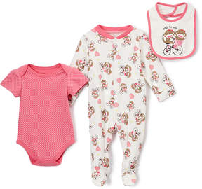 Baby Starters Hot Pink & Ivory Sock Monkey 'Best Friends' Footie Set - Infant