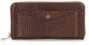Antonio Melani Crocodile-Embossed Front Pouch Zip Wallet