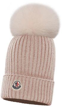 Moncler Kids' Berretto Ribbed-Knit Beanie Hat w/ Fur Pompom