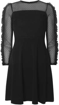 Dorothy Perkins Black Mesh Fit and Flare Ruffle Sleeve Dress
