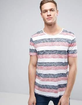 Esprit Reverse Stripe T-Shirt with Raw Edges