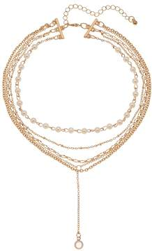 Mudd Simulated Pearl Layered Y Necklace