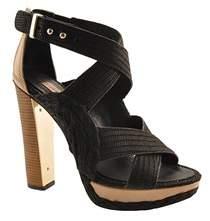 BCBGMAXAZRIA Fritz Women Open Toe Canvas Black Platform Heel.