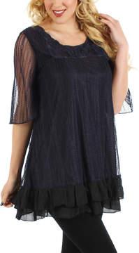 Lily Black & Purple Rosette Tunic - Women