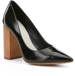 1 STATE Valencia Leather Wood Block Heel Pumps