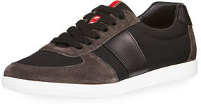 Prada Men's Linea Rossa Nylon Low-Top Sneakers with Leather & Suede