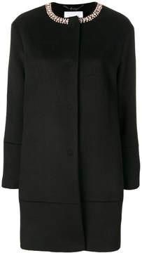 Blugirl embellished neck midi coat