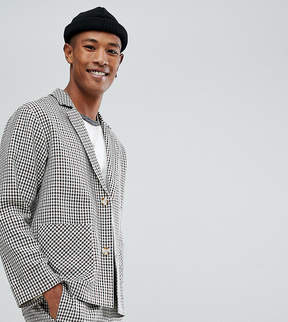Reclaimed Vintage Inspired Relaxed Blazer In Mini Dogstooth Check
