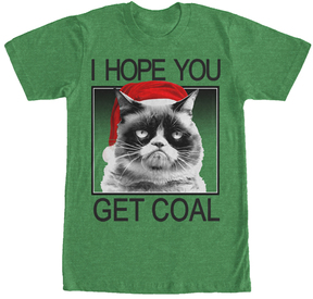 Fifth Sun Heather Kelly Grumpy Cat 'Get Coal' Tee - Men's Big