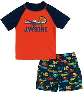 Trunks Toddler Boy Kiko & Max Jawsome Alligator Rashguard & Swim Set