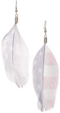 Carole Faded Stars & Stripes Faux Feather Earrings