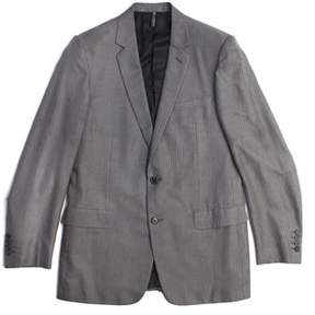Christian Dior Men's Cotton Pinstriped Two-button Suit Grey White.