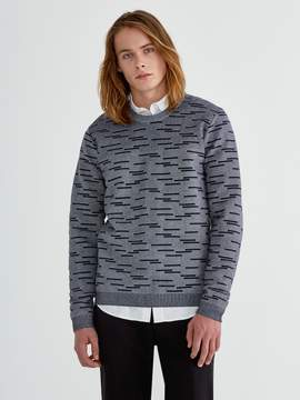 Frank and Oak LiteWeave Two-Tone Jacquard Sweater in Navy