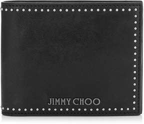 Jimmy Choo MARK Black Satin Leather Wallet with Mini Studs