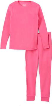 Cuddl Duds Beetroot Pink Fleece Base Layer Top & Leggings - Girls