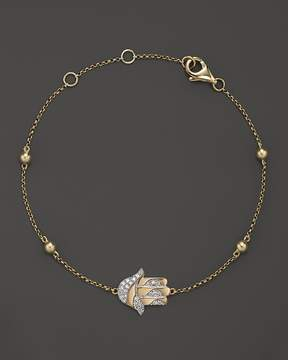 Bloomingdale's Diamond Hamsa Bracelet in 14K Yellow Gold, .10 ct. t.w. - 100% Exclusive