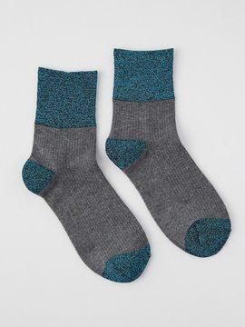 Frank and Oak Lurex Socks in Blue Metal
