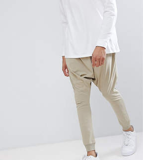 Asos TALL Lightweight Extreme Drop Crotch Jogger In Stone