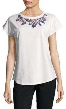 Isaac Mizrahi IMNYC Jewelneck Dolman Short-Sleeve Sequin Embellishment Tee
