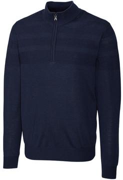 Cutter & Buck Navy Douglas Half-Zip Wool-Blend Pullover - Men