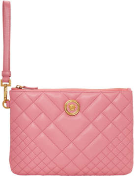 Versace Pink Quilted Leather Pouch