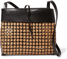 KARA Tie Woven Leather Shoulder Bag