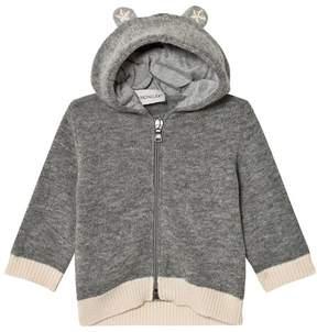 Moncler Grey Wool Cardigan with Hood