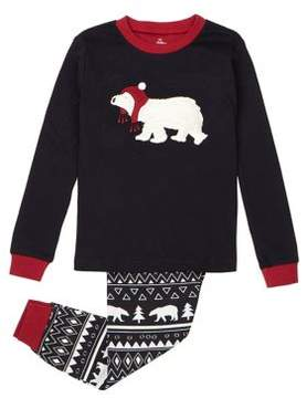 Petit Lem Little Boy's and Boy's Two-Piece Cabin Holidays Polar Bear Cotton Pajama Top and Pants Set