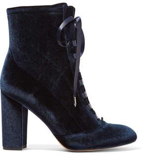 Sam Edelman Clementine Lace-up Velvet Ankle Boots - Storm blue